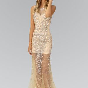 Jewel and Sequin Embellished Long Dress GSGL2084
